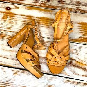 Frye Tan Grace Leather Heel Sandal Size 8.5